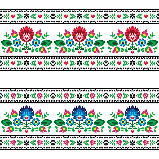 Seamless Polish folk art pattern with flowers Repetitive cutout style colorful background - polish folk art decoration elements polish culture stock illustrations
