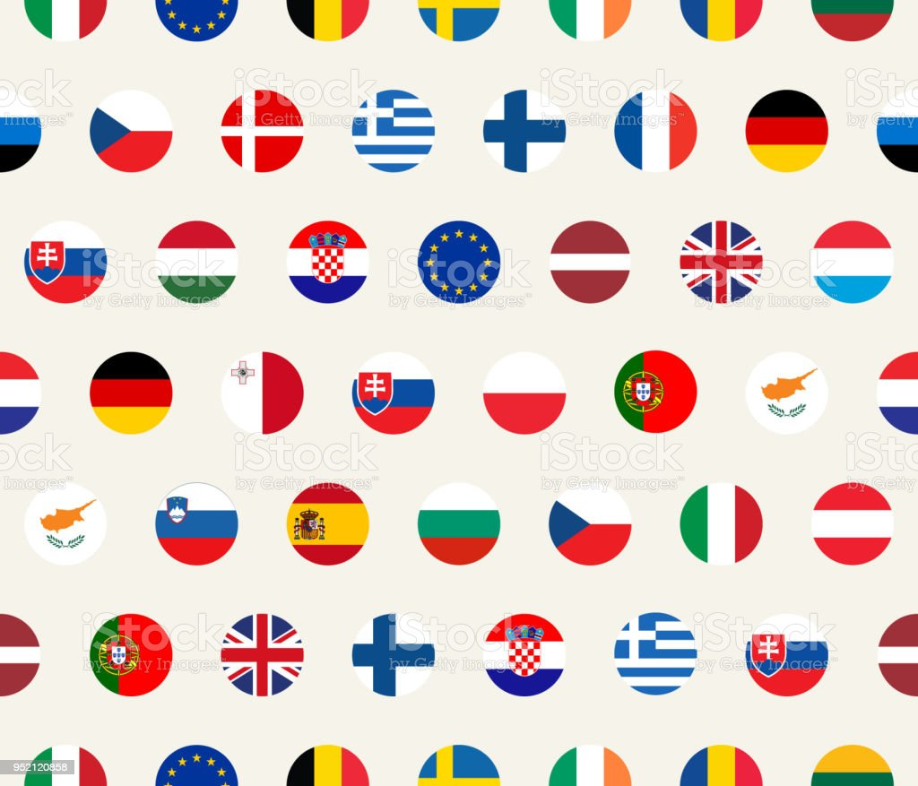Seamless Political Pattern With European Union Countries Flags
