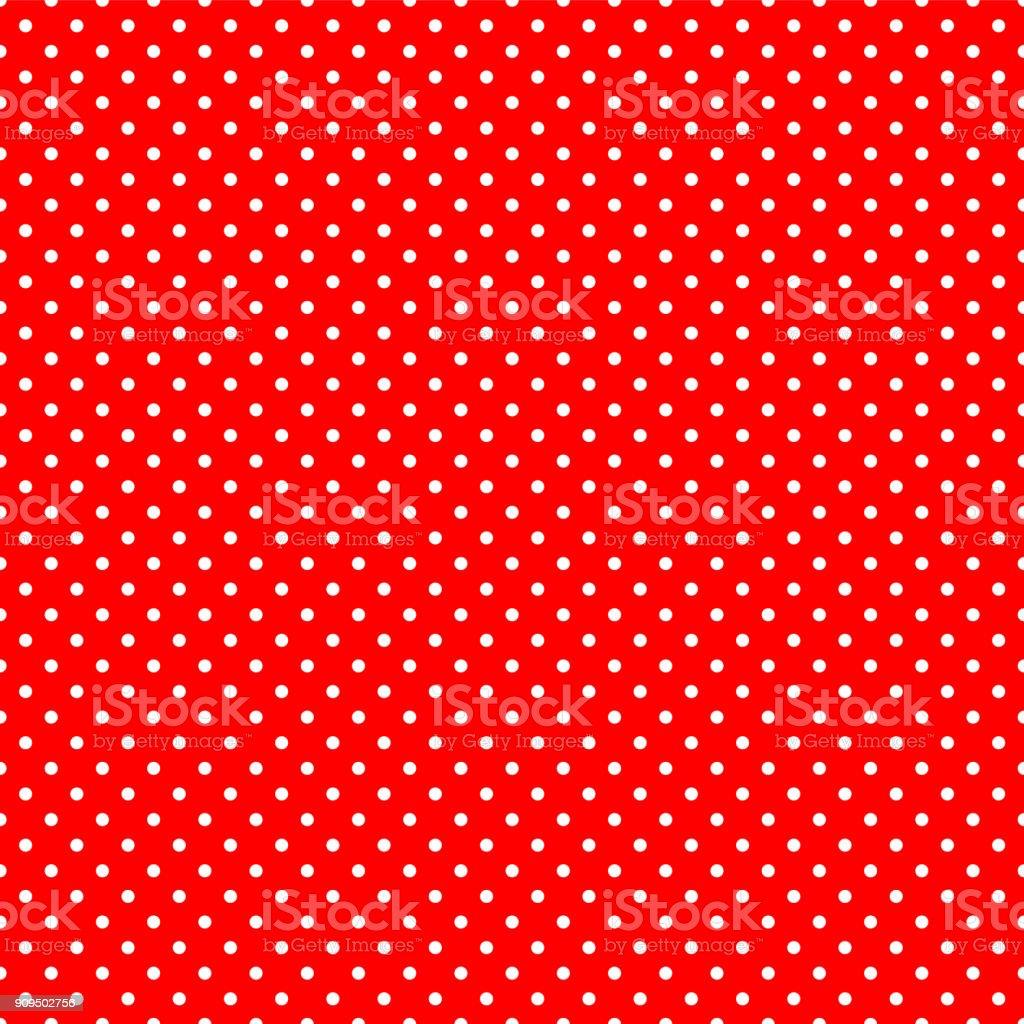 Seamless polka dot on red background vector art illustration