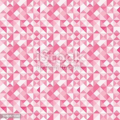 istock Seamless polygon background pattern - polygonal - red wallpaper - vector Illustration 1092821042