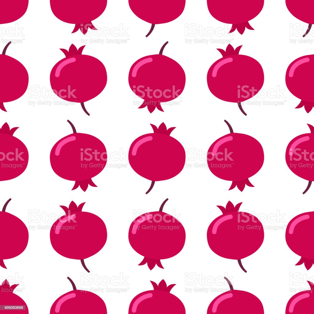 Seamless pomegranate pattern on white background vector art illustration