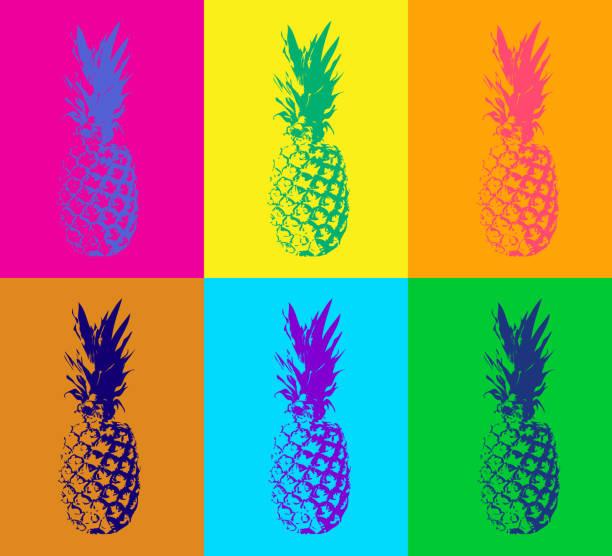 illustrazioni stock, clip art, cartoni animati e icone di tendenza di seamless pop art pattern in vector - ananas