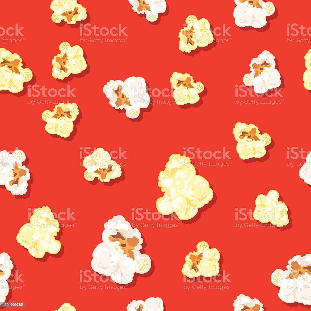 Seamless Popcorn Background Pattern vector art illustration