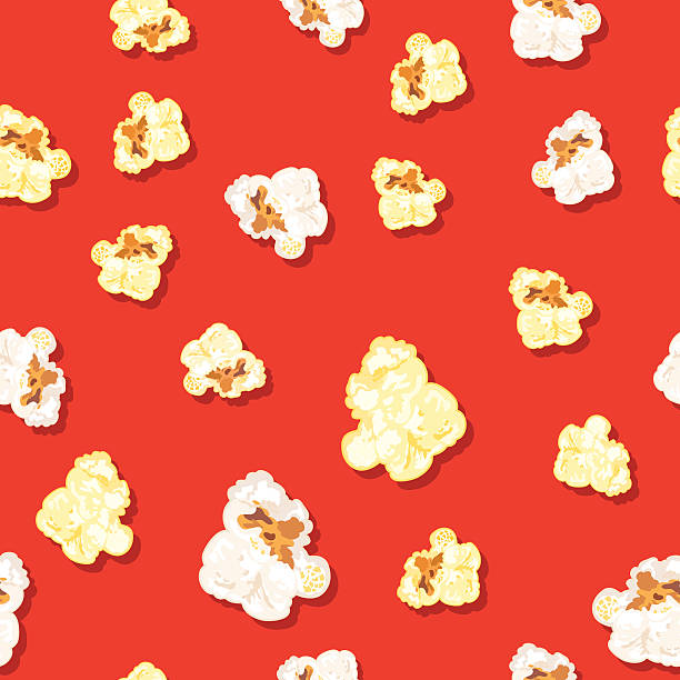 stockillustraties, clipart, cartoons en iconen met seamless popcorn background pattern - popcorn