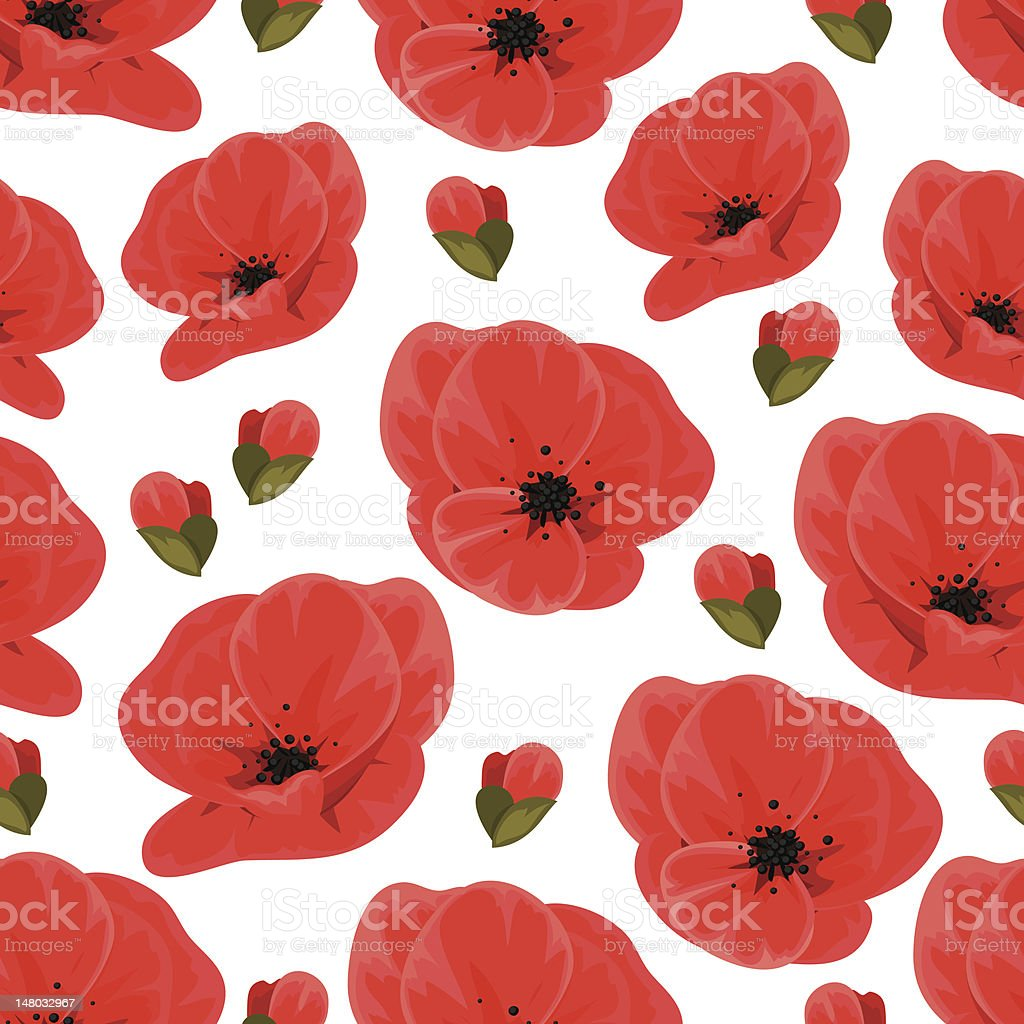 Seamless poppy pattern vector art illustration