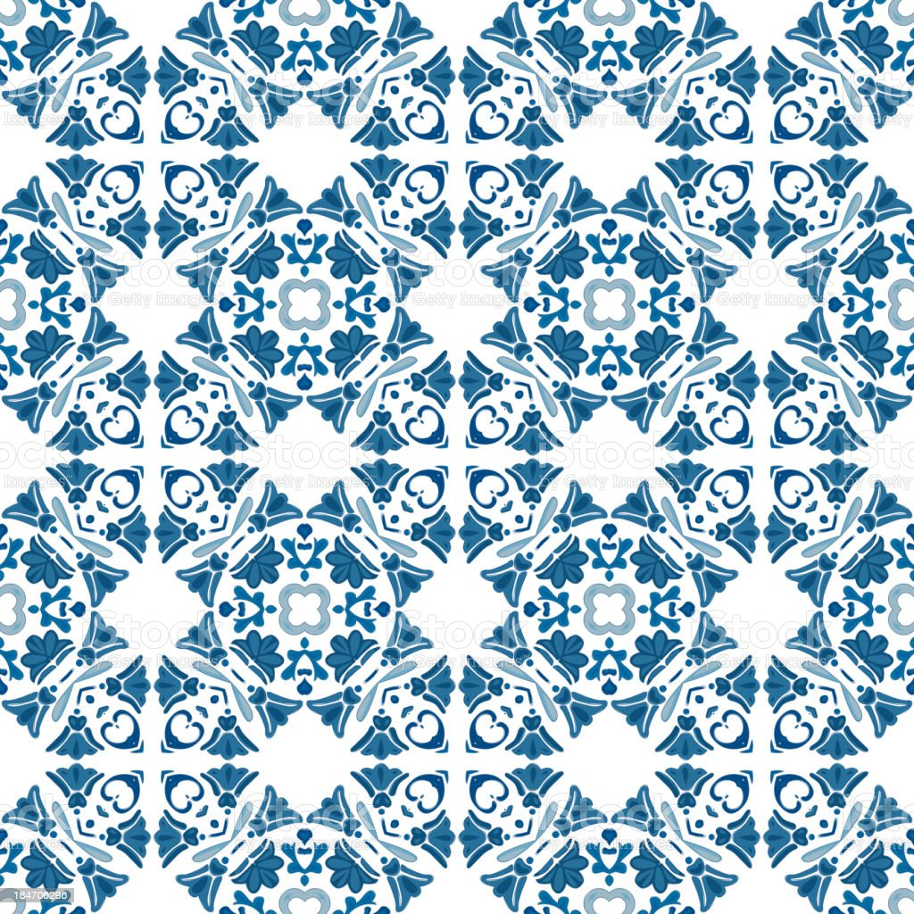 Seamless Portuguese Blue And White Tiles Pattern Background Stock ...