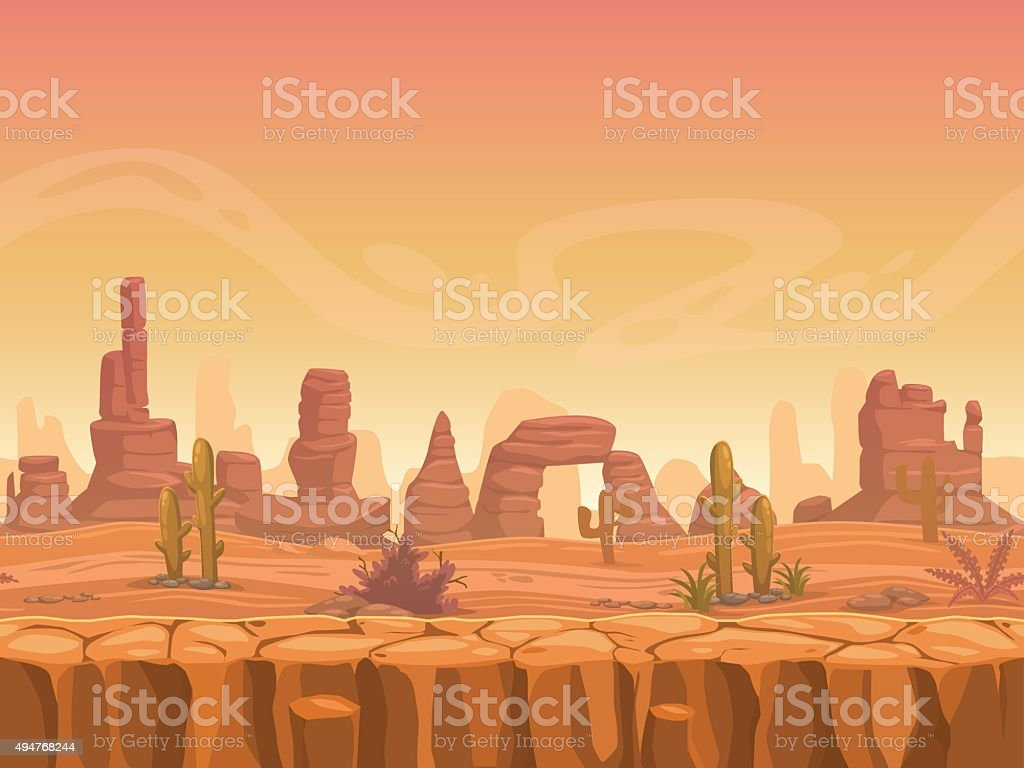 Seamless prairie landscape vector art illustration