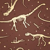An illustration of seamless dinosaur fossils.  There are four full dinosaur skeletons visible.  One skeleton is only partially visible and there are three tails visible but the bodies they belong to cannot be seen.  The skeletons are in a light brown color that looks almost white.  All around the background there are specks in the same color as the dinosaur skeletons, and some that are in dark brown.  Two of the skeletons are upright and two are lying on their backs.  The illustration is set in a dark brown background.
