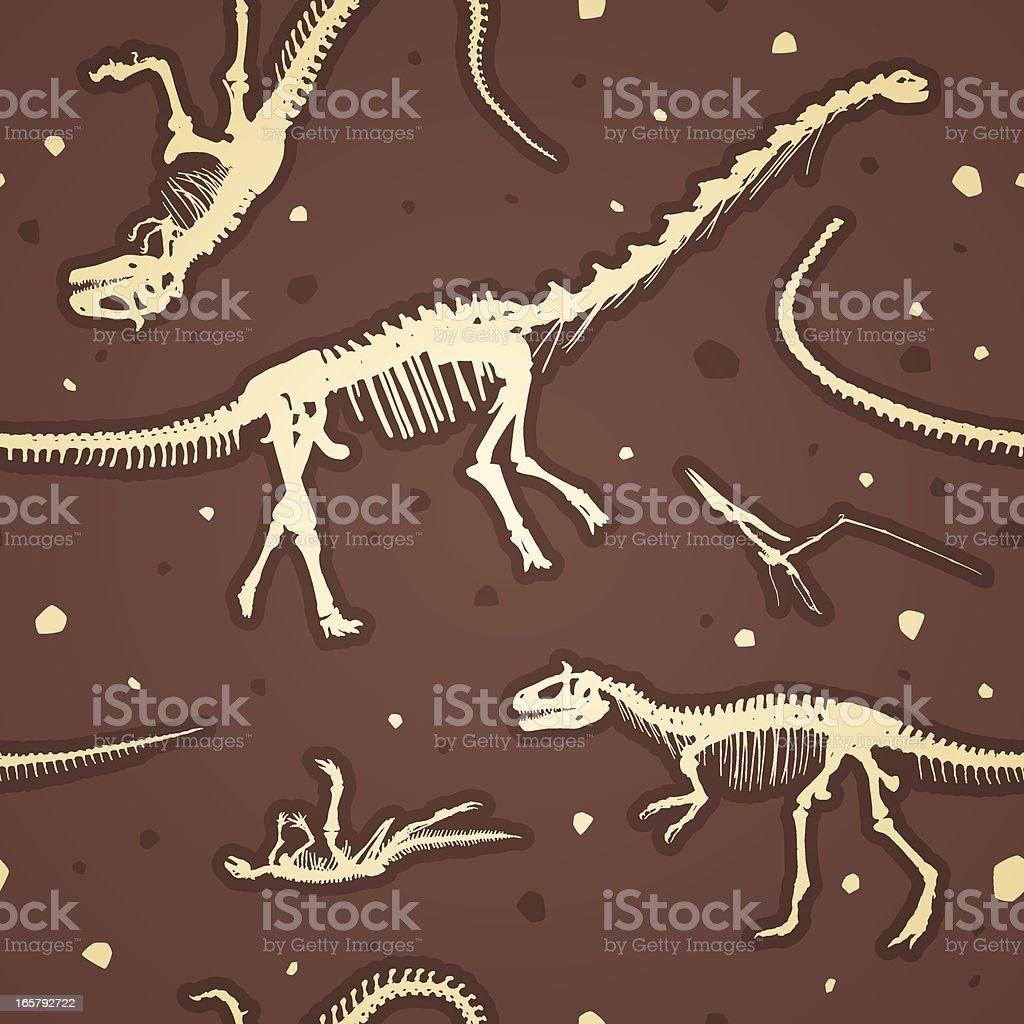 Seamless prehistoric dinosaur skeletons vector art illustration