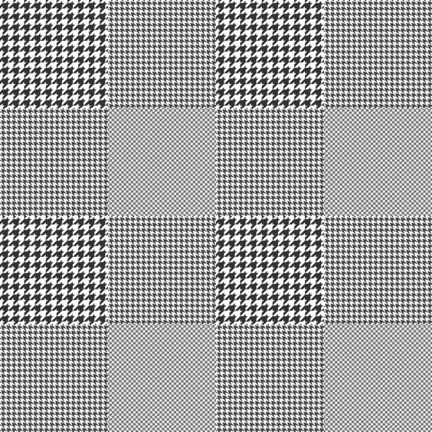 ilustraciones, imágenes clip art, dibujos animados e iconos de stock de patrón de verificación príncipe de gales. cuadros glen clásico en blanco y negro. - fondos de franela