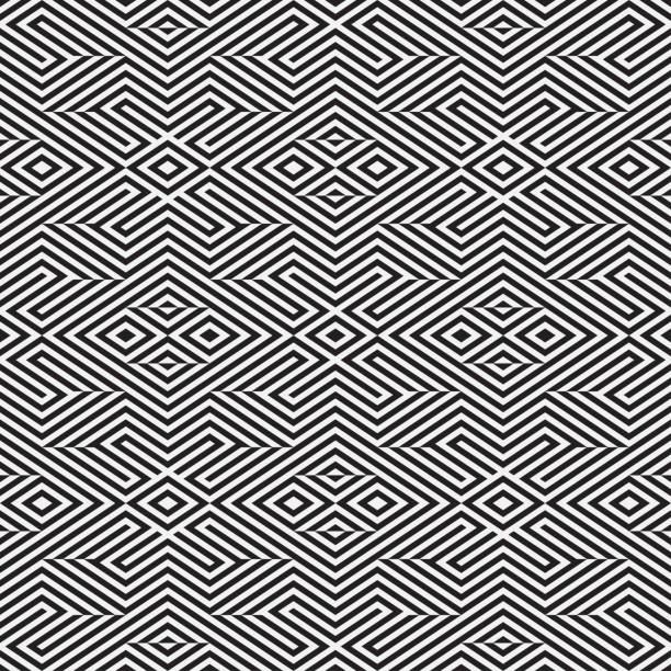 nahtlose psychedelische muster in streifen. - rankgitter stock-grafiken, -clipart, -cartoons und -symbole