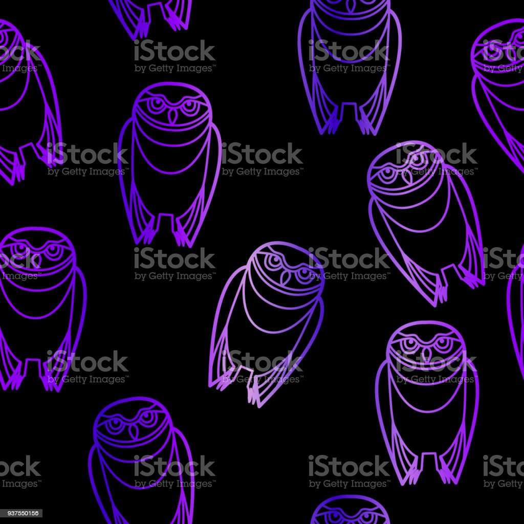 Seamless Purple Owls over Black vector art illustration