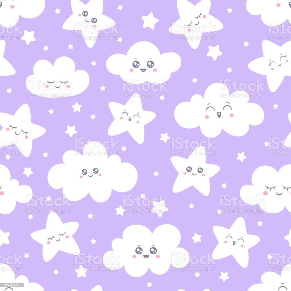 Lila Lachelnd Sterne Und Wolken Musterdesign Fur Baby Schlafanzug