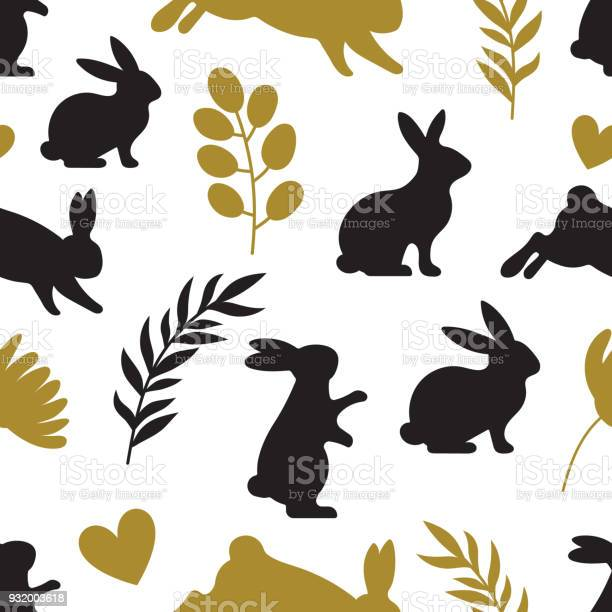 Seamless rabbit silhouette pattern with leaves and flowers to easter vector id932003618?b=1&k=6&m=932003618&s=612x612&h=z7vqcfwhk1n1m4gwcgit jmtp7nyarvprkiawluijtg=