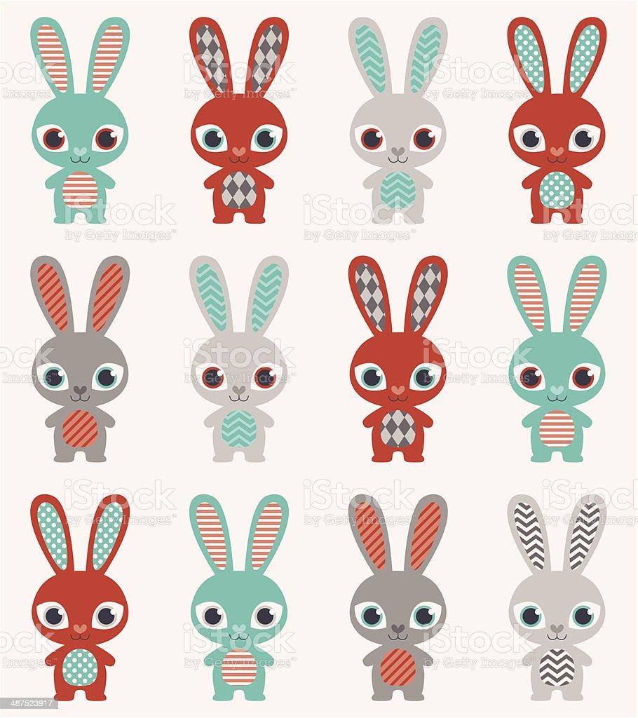Ilustración de Patrón Sin Costuras Conejos y más banco de imágenes ...