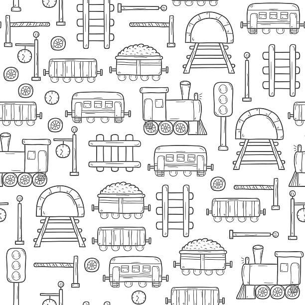 illustrazioni stock, clip art, cartoni animati e icone di tendenza di seamless sfondo railroad - subway