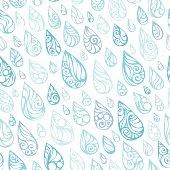 Ornate blue raindrops isolated on white background. Seamless background. EPS 8.