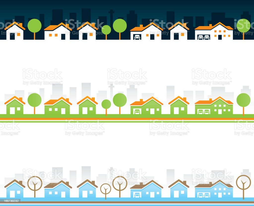Seamless Real estate borders vector art illustration