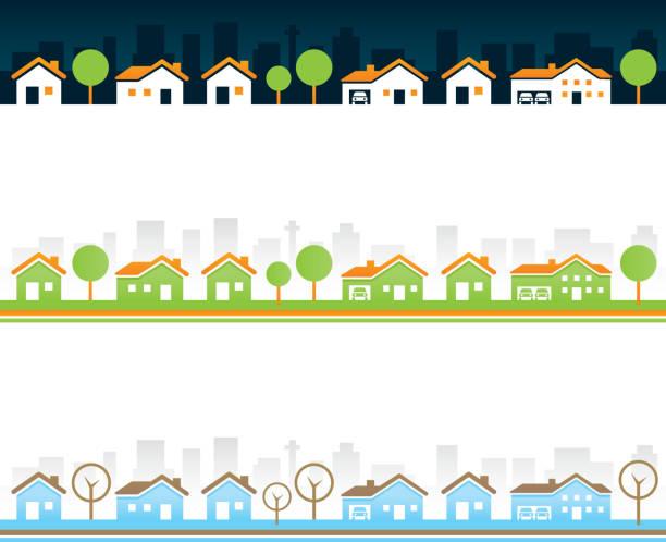 seamless real estate borders - suburbs stock illustrations