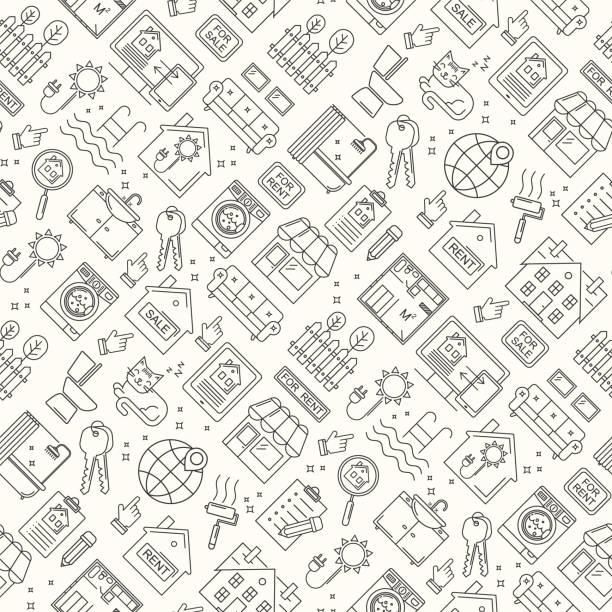 Nahtloses Immobilien-Linien-Stil-Muster. Vektor linearer Hintergrund mit Verkauf und Miete Gebäude, Haus, Wohnung und Zimmer. – Vektorgrafik