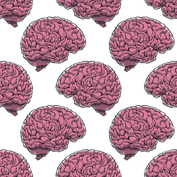 seamless realistic brain - ilustração de arte em vetor