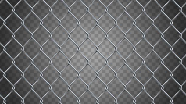 stockillustraties, clipart, cartoons en iconen met naadloze realistische keten link hek achtergrond.  vector mesh geïsoleerd - fence