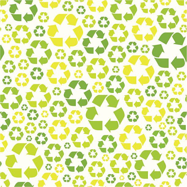 Seamless recycling symbol pattern vector art illustration