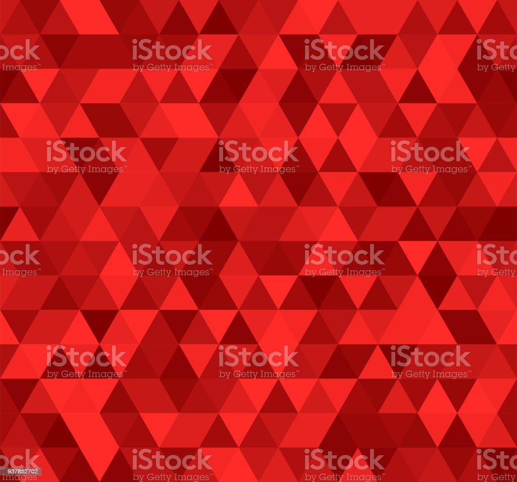 Seamless red abstract pattern. Geometric print composed of triangles and polygons. Ruby background.
