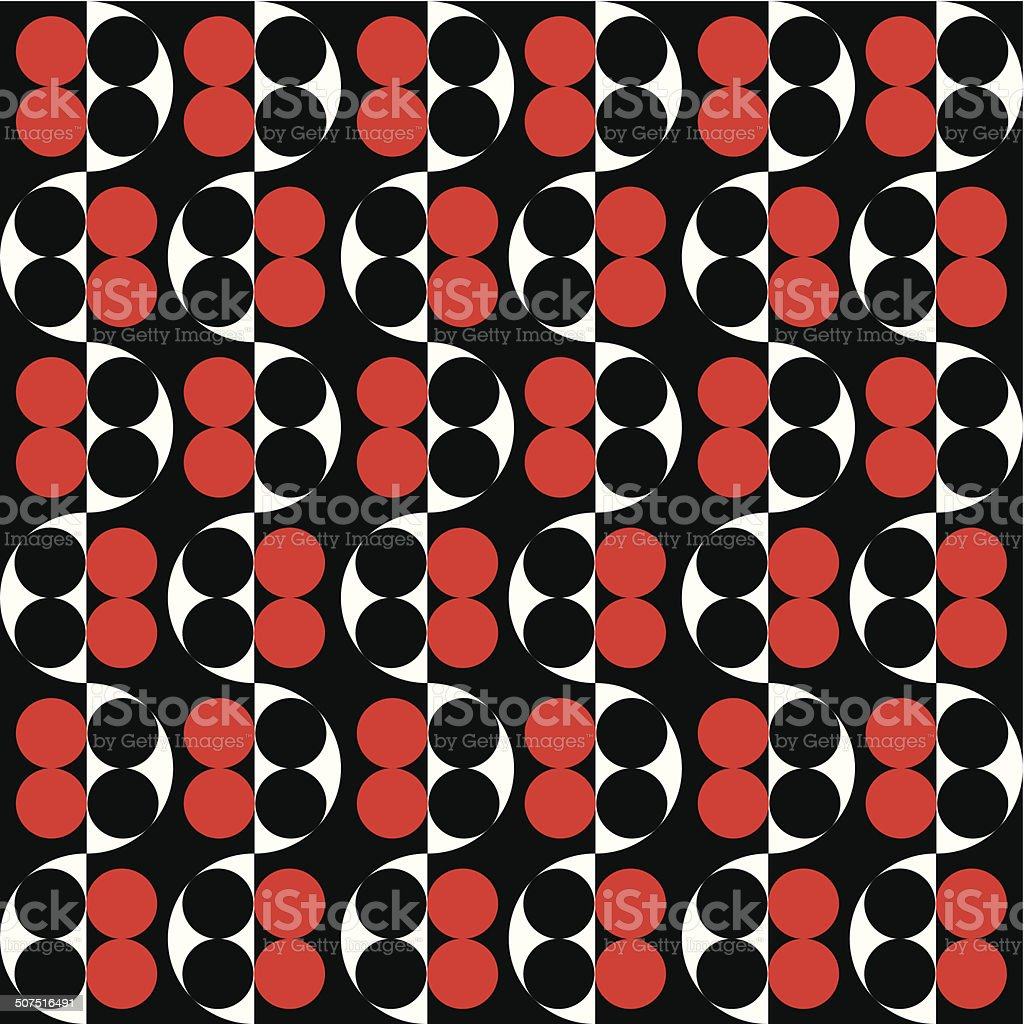 Seamless Red and Black Intersecting Vintage Dot Pattern royalty-free stock vector art