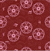 Seamless Oriental Red Cherry Blossom classic Floral Pattern on Maroon Red Background. Pattern can be easily tiled up for larger piece. Vector-Based Illustration, No gradient mesh and 3D program used. Download Includes: High Resolution JPG, Illustrator EPS & AI. Please check out more of my stock illustrations and photos at: http://www.istockphoto.com/portfolio/phi2.