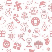 Seamless red holiday christmas and hanukkah symbols background. Tiles seamlessly from top to bottom and left to right. EPS 10 file. Transparency effects used on highlight elements.