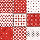 Seamless Red Polka Dot Patterns