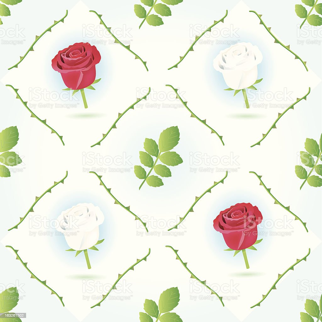 seamless red/white rosepattern. royalty-free stock vector art