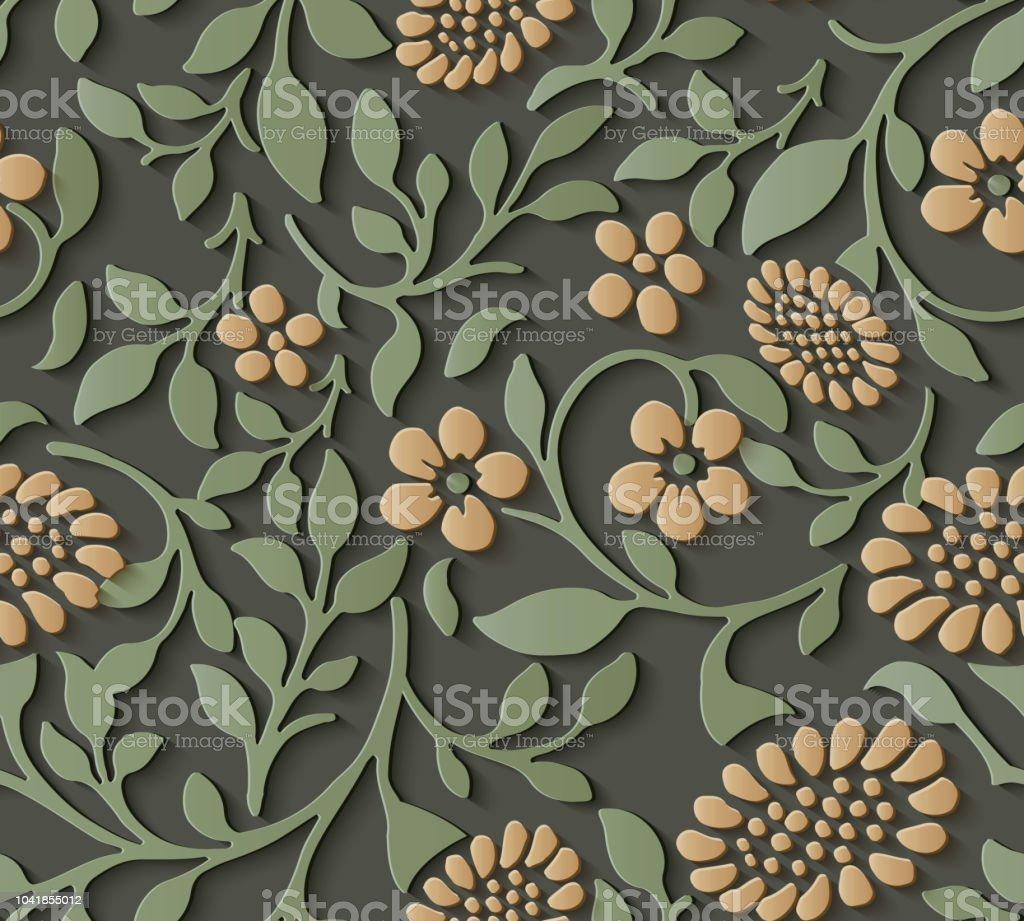 Perfecta socorro escultura decoración patrón naturaleza jardín botánico amarillo flor - ilustración de arte vectorial