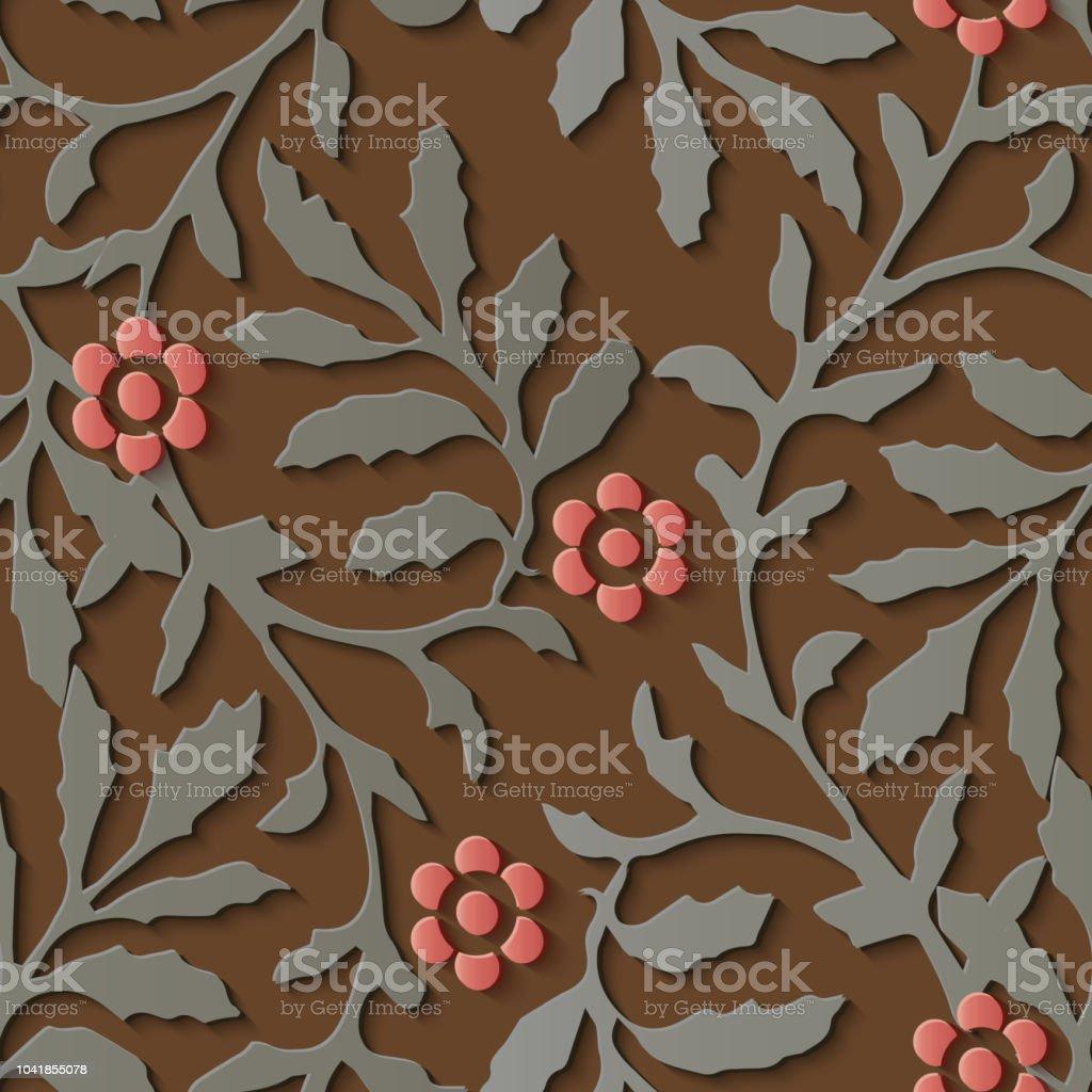 Perfecta socorro escultura decoración patrón naturaleza jardín botánico rojo flor - ilustración de arte vectorial