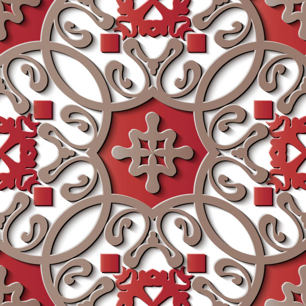 nahtlose skulptur dekoration retro-reliefmuster asiatischen spirale kurve cross frame ranke blume kaleidoskop - gartenskulpturkunst stock-grafiken, -clipart, -cartoons und -symbole