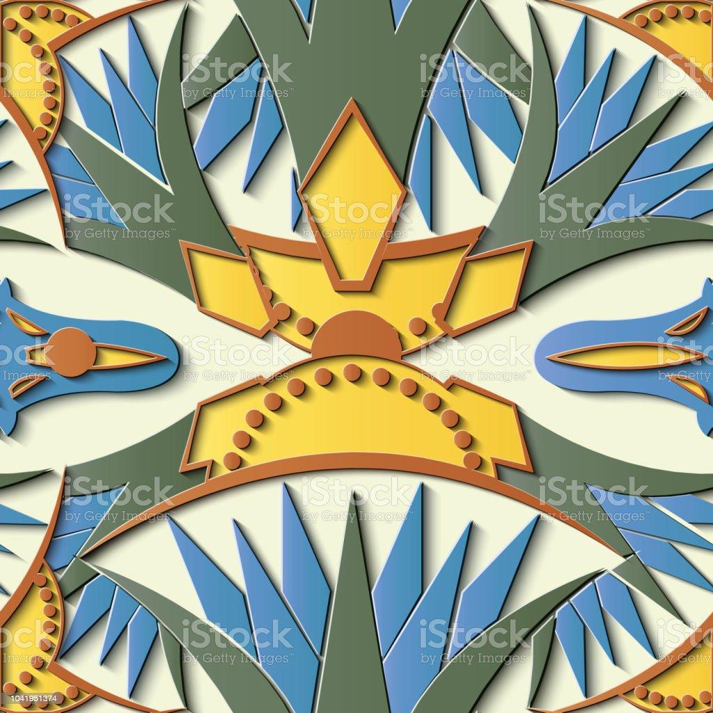 Perfecta socorro escultura decoración retro patrón botánico la curva Cruz Flores de la planta de hoja - ilustración de arte vectorial