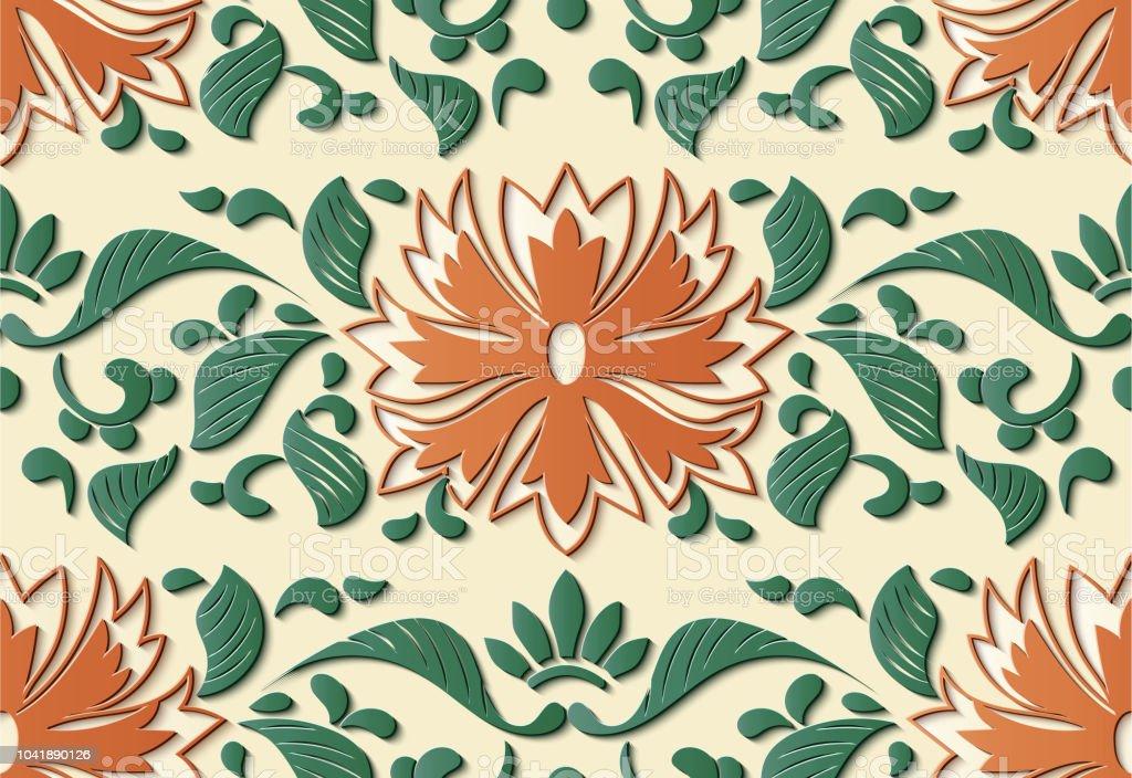Perfecta socorro escultura decoración retro patrón botánico flor hoja la vid - ilustración de arte vectorial