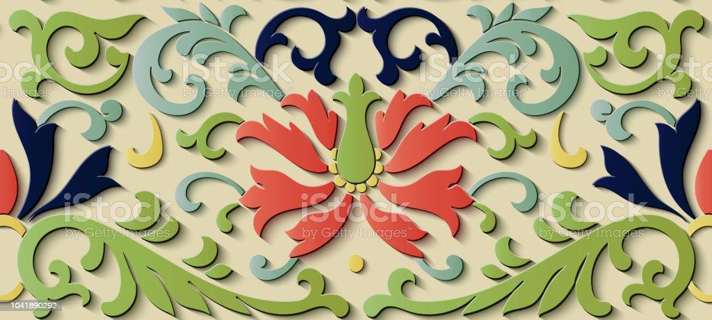 Perfecta socorro escultura decoración retro patrón jardín botánico hoja vid flor - ilustración de arte vectorial