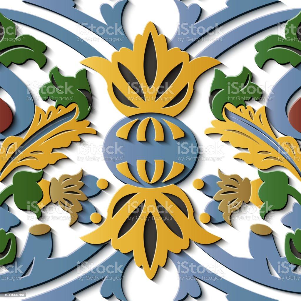 Perfecta socorro escultura decoración retro patrón jardín botánico planta Cruz hoja flor marco - ilustración de arte vectorial