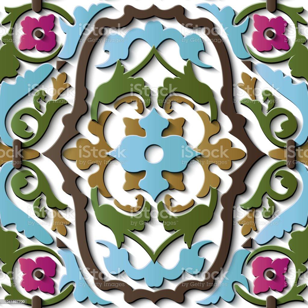 Perfecta socorro escultura decoración retro patrón espiral botánico curva corss planta vid flor - ilustración de arte vectorial