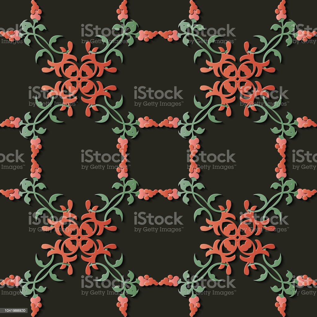 Espiral de alivio escultura decoración retro patrón botánico Cruz flor de vid de hoja - ilustración de arte vectorial