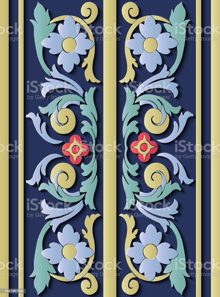 Perfecta socorro escultura decoración retro patrón espiral botánico la curva hoja vid flores marco línea cruzada - ilustración de arte vectorial