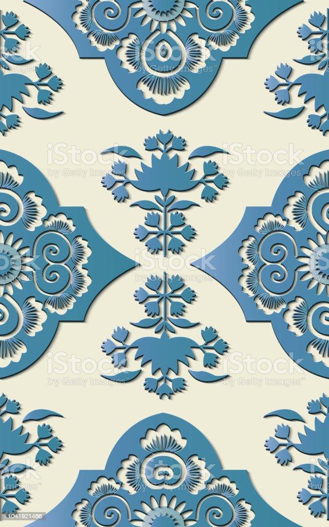 Perfecta escultura decoración retro dibujo en relieve chino curva azul Cruz Flores de hoja de la planta del botánico - ilustración de arte vectorial