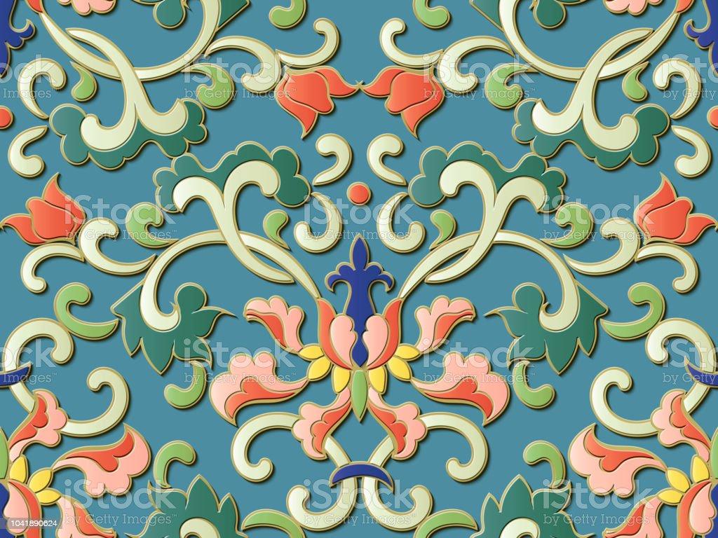 Perfecta escultura decoración retro dibujo en relieve espiral botánico chino curva vid hojas flores - ilustración de arte vectorial