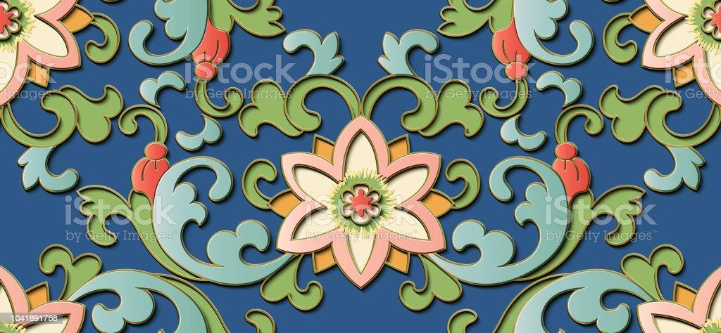 Perfecta escultura decoración retro dibujo en relieve espiral de hojas de flores de jardín botánico chino Cruz Parra - ilustración de arte vectorial