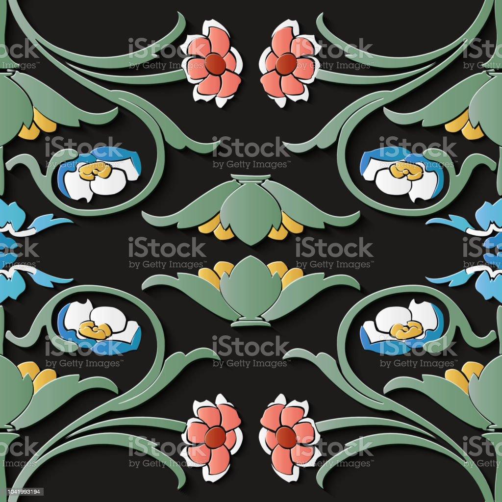Curva de patrón retro de decoración de escultura de alivio cruzar enredadera de hojas de flores jardín botánico - ilustración de arte vectorial