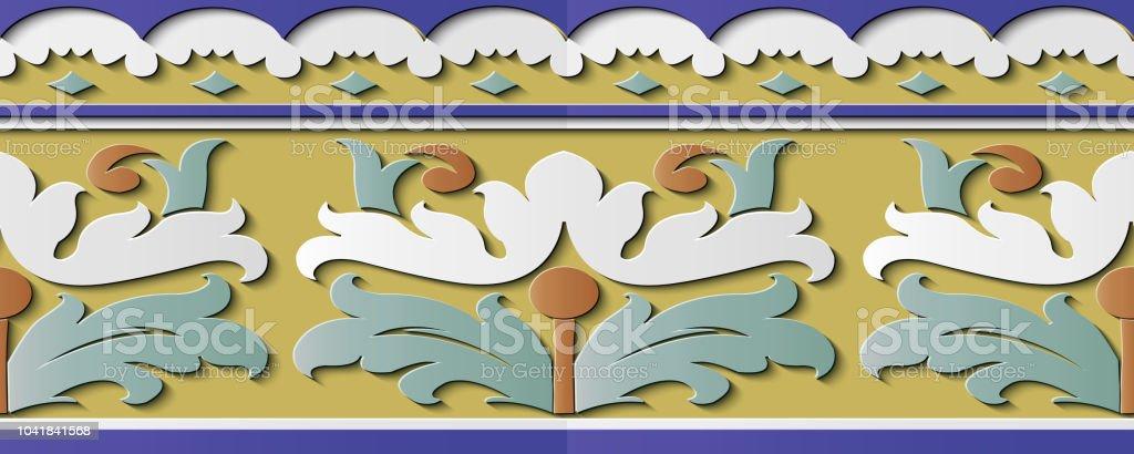 Curva de patrón retro de decoración de escultura de alivio cruzar espiral marco línea botánica planta hoja flor - ilustración de arte vectorial