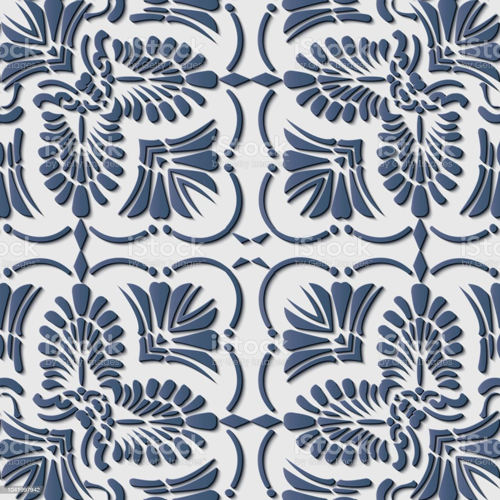 Perfecta socorro escultura decoración retro patrón elegante curva azul cruzar botánico hoja marco vid línea - ilustración de arte vectorial