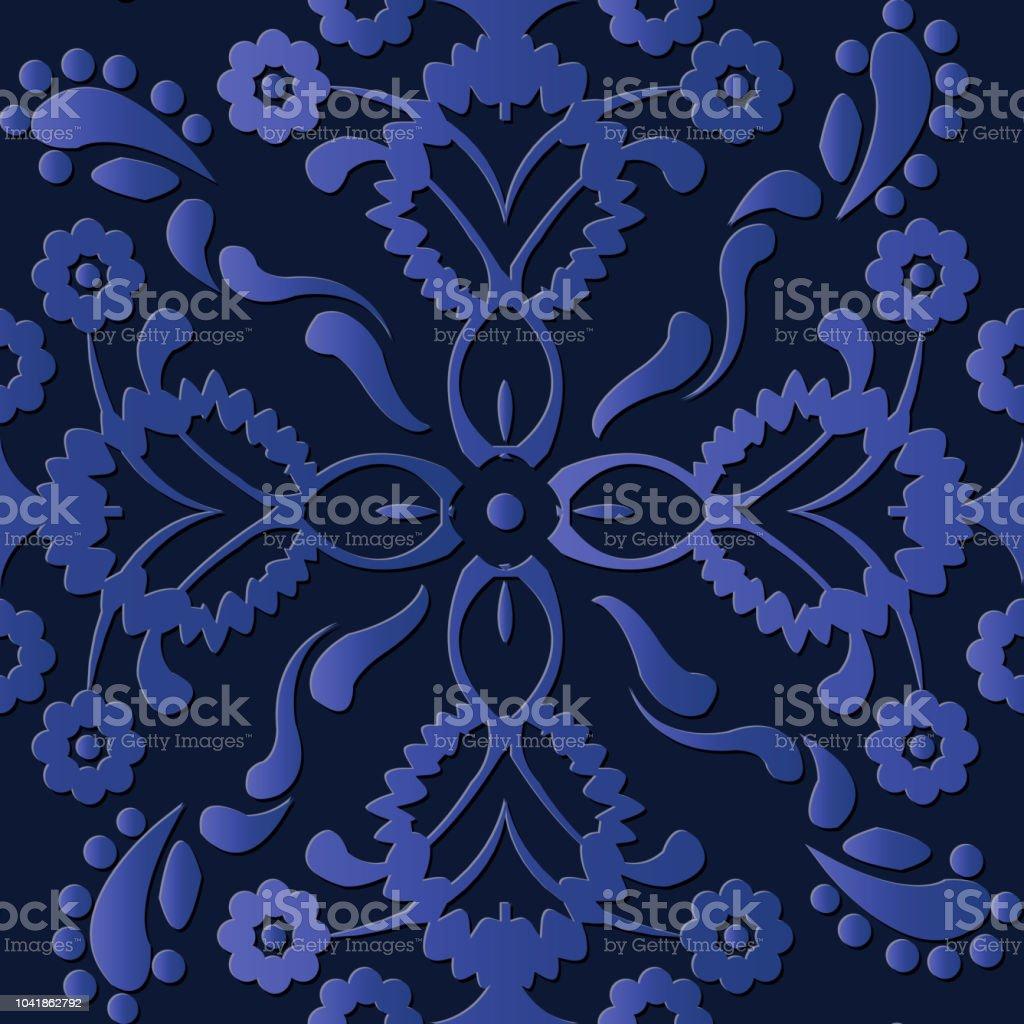 Caleidoscopio de flores de relieve escultura decoración patrón retro elegante azul planta botánica - ilustración de arte vectorial
